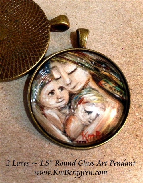 mother holding two children glass art pendant handmade by the artist