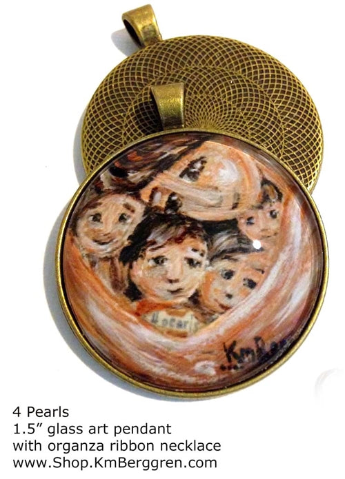 mother cradling four children glass art pendant handmade by the artist