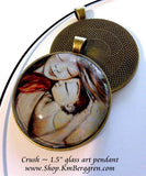 silver or bronze glass art pendant 1.5 inches across handmade by the artist