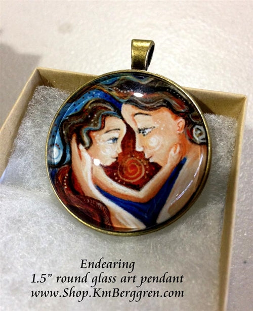 mother and child blue glass art pendant 1.5 inches across handmade by the artist