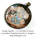 Family of Five 5 glass art pendant 1.5 inches across handmade by the artist