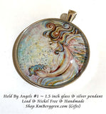 Held By Angels #1 - 1.5 inch round glass art pendant