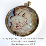 Held By Angels #2 - 1.5 inch round glass art pendant