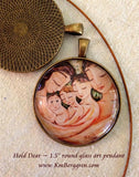 1.5 inch glass art pendant of mother and father with three children, handmade by artist KmBerggren