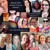mothers wearing their motherhood pendants created by Katie m. Berggren