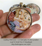 Leading With Love - 1.5 inch round glass art pendant