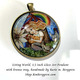 glass art pendant of little girl with rainbow and chickens 1.5 inches across handmade by the artist