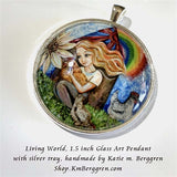 Living World - 1.5 inch round glass art pendant