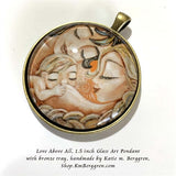 glass art pendant necklace of two mothers, same sex couple with nursing baby 1.5 inches across handmade by the artist
