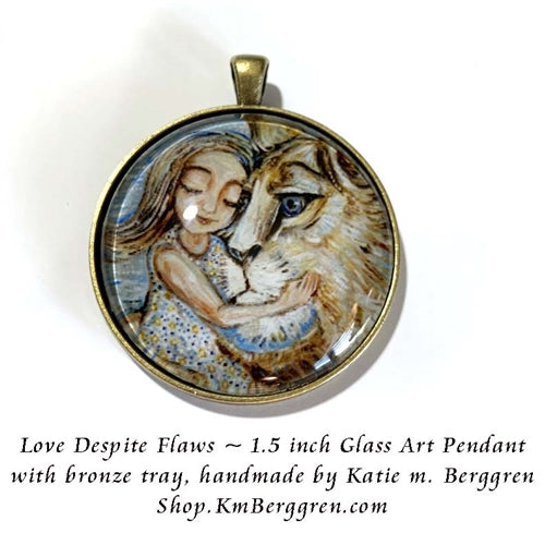 glass art pendant necklace of little girl next to lion face 1.5 inches across handmade by the artist