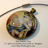 Mid-Summer Day - 1.5 inch round glass art pendant