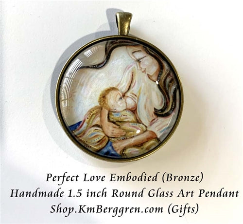 glass art mother breastfeeding baby pendant necklace 1.5 inches across handmade by the artist