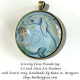 glass art pendant necklace of mermaid and dolphin 1.5 inches across handmade by the artist