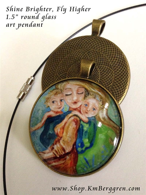 babywearing gift glass art pendant necklace of mother tandem wearing two kids 1.5 inches across handmade by the artist
