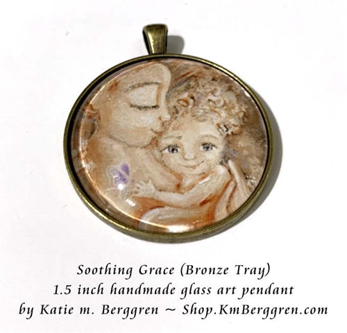 Mama and baby glass art pendant necklace of mother with child and butterfly 1.5 inches across handmade by the artist