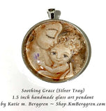 Soothing Grace - 1.5 inch round glass art pendant