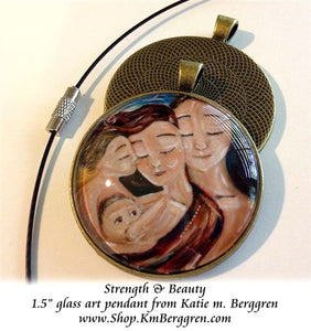 Breastfeeding mother and father glass art pendant necklace mothers gift 1.5 inches across handmade by the artist