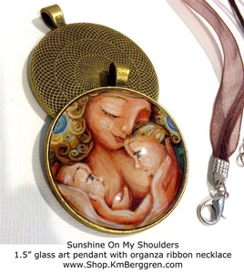 Tandem Breastfeeding mother glass art pendant necklace mothers gift 1.5 inches across handmade by the artist