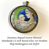 Rainbow baby and mother glass art pendant necklace mothers gift 1.5 inches across handmade by the artist
