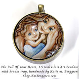 The Pull Of Your Heart - 1.5 inch round glass art pendant