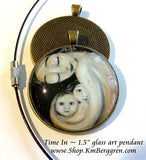 mother protecting two children glass art pendant necklace mothers gift 1.5 inches across handmade by the artist