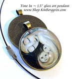 Time In - 1.5 inch round glass art pendant