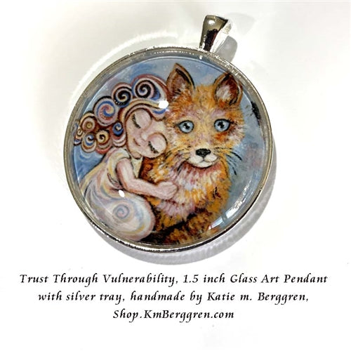 little girl and fox glass art pendant necklace mothers gift 1.5 inches across handmade by the artist