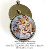 Trust Through Vulnerability - 1.5 inch round glass art pendant