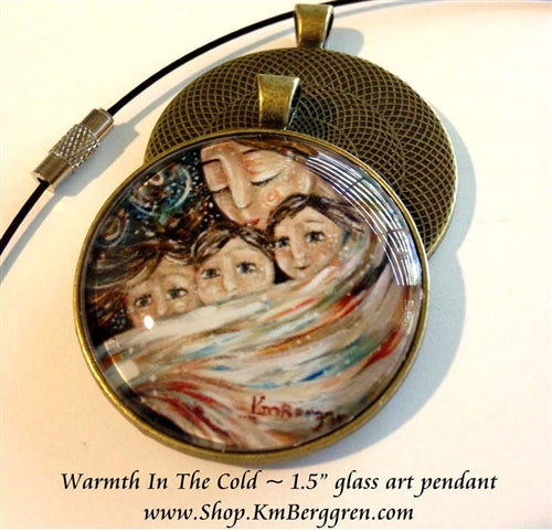 mother cradling three children glass art pendant necklace mothers gift 1.5 inches across handmade by the artist