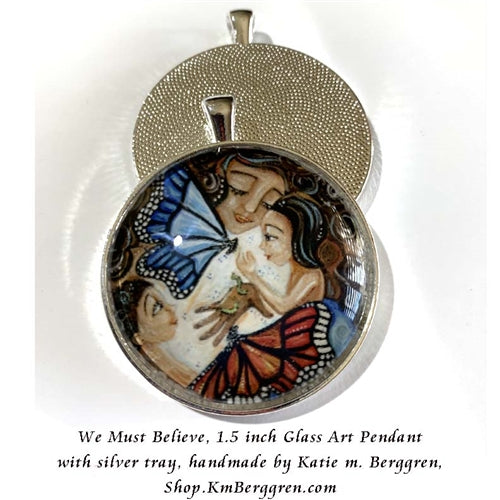 mother and two kids with big butterflies glass art pendant necklace mothers gift 1.5 inches across handmade by the artist