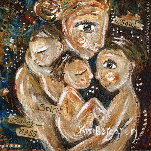 blonde mother with three brunette children with words in painting print by KmBerggren