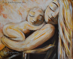 golden yellow art print of blonde mother holding blonde child, skin to skin