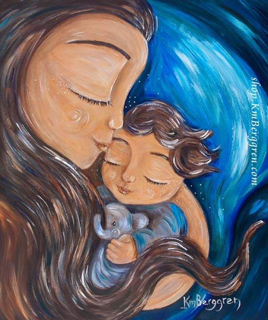 blue art print of long brown haired mother with brown haired toddler and stuffed elephant