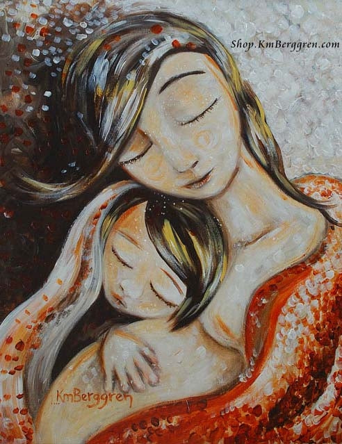 expectant mother in red blanket with older daughter artwork