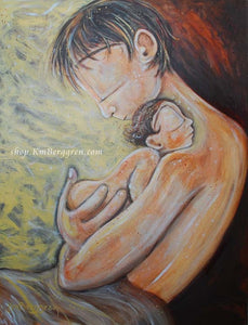 yellow warm print of father holding naked baby against his chest by KmBerggren