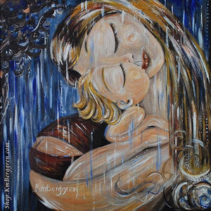 blonde mother and child artwork standing in the rain with blue sky