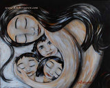 dark haired mother cradling three dark haired children, artwork by KmBerggren