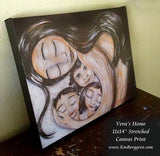 canvas print of dark haired mother cradling three dark haired children