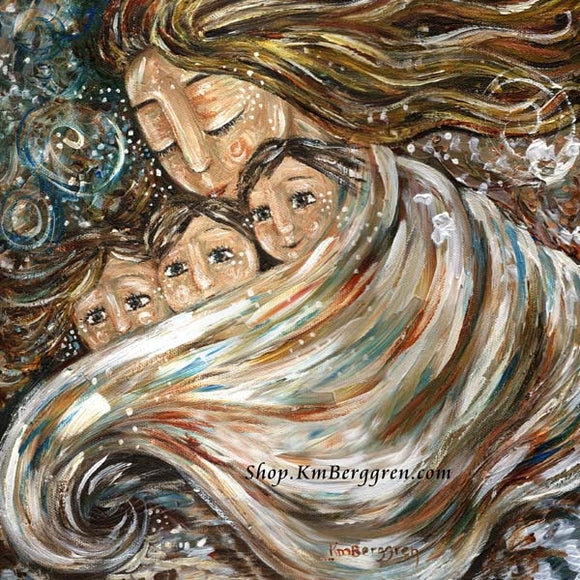 art print of mother keeping her children warm on a cold day beneath a blanket by KmBerggren