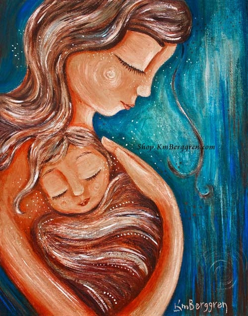 red and blue art print of a mother wearing her child in her heart