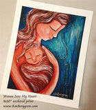 art print of a mother wearing her child in her heart in reds and blues by KmBerggren