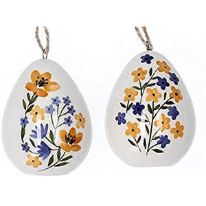 Ceramic Blue and Yellow Flower Egg Decoration
