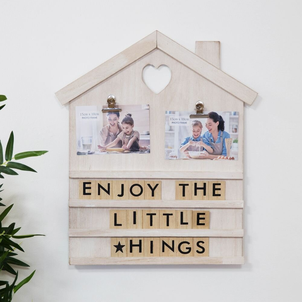 House Shaped Letter Board with Photo Clips