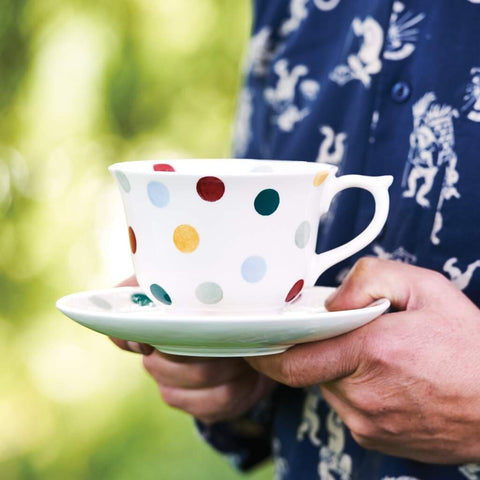 Polka Dot Large Teacup & Saucer Set