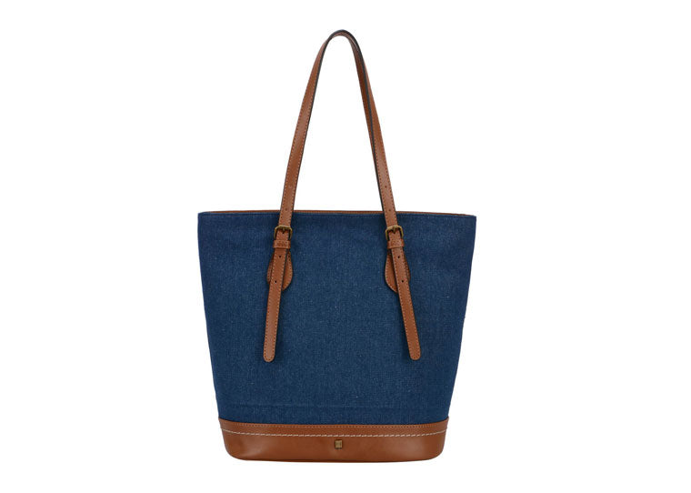 Blue Jean & Tan Handbag