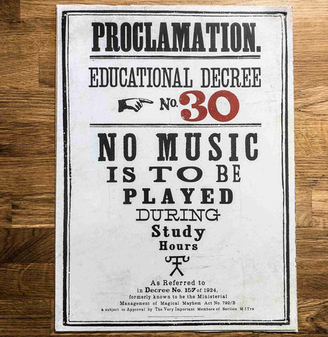 Harry Potter Educational Decree Metal Sign