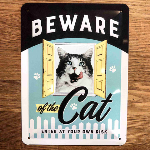 Beware of the Cat Small Metal Sign