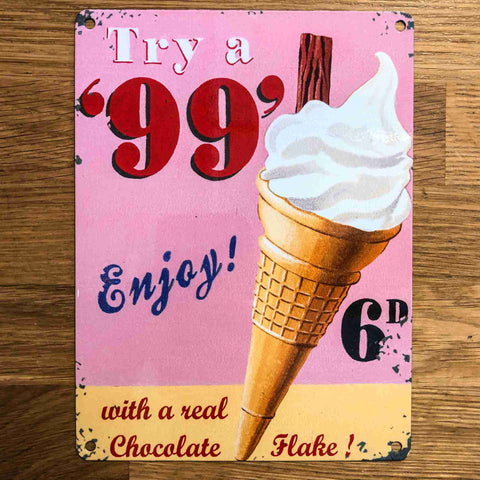 99 Ice Cream Small Metal Sign