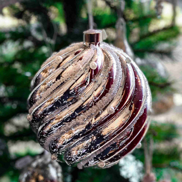 Giant Light Up Antique Silver Glass Bauble