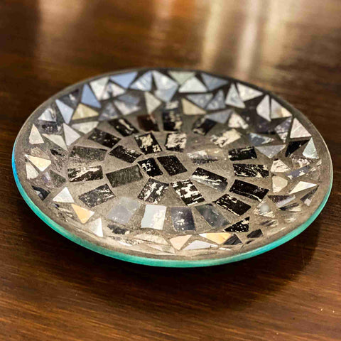 Glass Candle Plate Midnight
